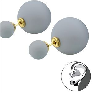 Surgical Steel Gray Double Round Earrings